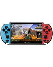 Game Console,FEIlei X7 Plus 8G Video Portable Game Console 5.1'' Screen Handheld Retro PSP Kid Gifts-Red and Blue