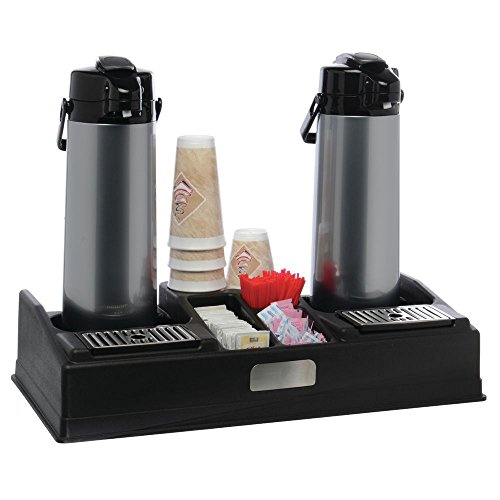 HUBERT Airpot Thermal Coffee Dispenser Stand for 2 Airpots Black Plastic
