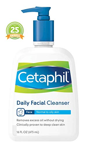 Cetaphil Daily Facial Cleanser for Normal to Oily Skin, Gentle Face Wash for Sensitive Skin, 16 oz. Bottle ()