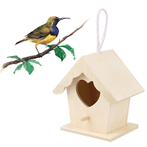 Loneflash Wooden Bird House, Outside/Indoors/Hanging   Kits for Children & Adults   Decorative Birdhouse & Home Decoration   Outdoors Feeder for Birds, Bluebirds, Wrens & Chickadees