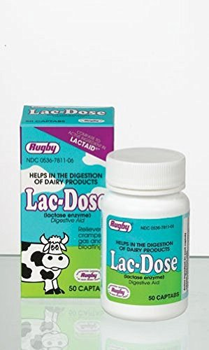 Rugby Lac-Dose, Lactase Enzyme, 50 Captabs Per Bottle (2 Bottles) by Rugby