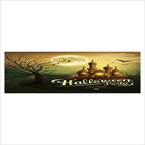 Fish Tank Background Decor Static Image Backdrop Wallpaper Sticker Cling Decals Happy Halloween party castles with message,bat,silhouette tree,moon Wallpaper Sticker Background Decoration -