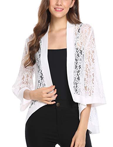 Grabsa Women's 3 4 Sleeve Lace Cardigan Sheer Jacket Crochet Cover up 3 4 Sleeve Jackets