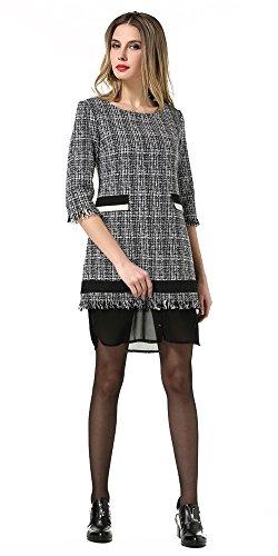 Grau Dress Splice Laruise 3 Damen Tassel 4 Sleeve 60wfqP8