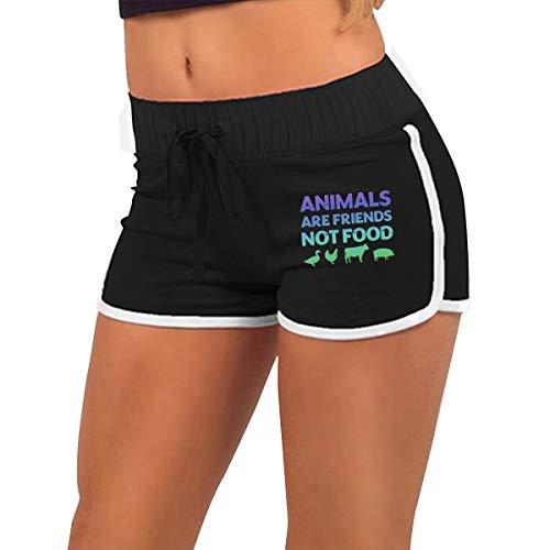 Womens Sexy Mini Shorts Animals are Friends Not Food Vegans Vegetarian Low Waist Dance Yoga Festivals Tight Pants Black