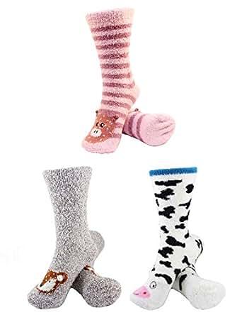 Super Soft Warm Cute Animal Non-Slip Fuzzy Crew Winter Home Socks - Assortment 01 - 3 Pairs - Value Pack