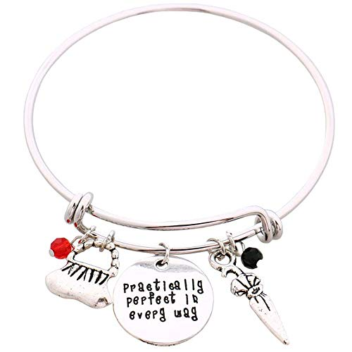 hanreshe Bangle Practically Perfect in Every Day Adjustable DIY Bracelet Message Charm Expandable Wire Bangle Bracelet
