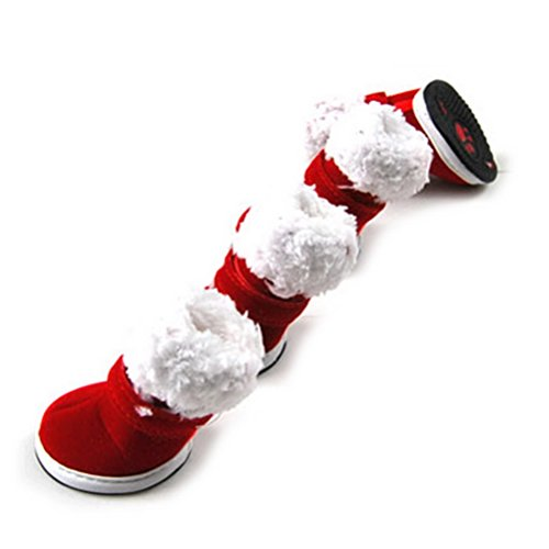 Zunea Anti-Slip Small Dog Santa Shoes Winter,Puppy Boots Snow Warm,Pet Sneakers Paw Protector Booties Doggie Christmas Costume Clothes Red XS