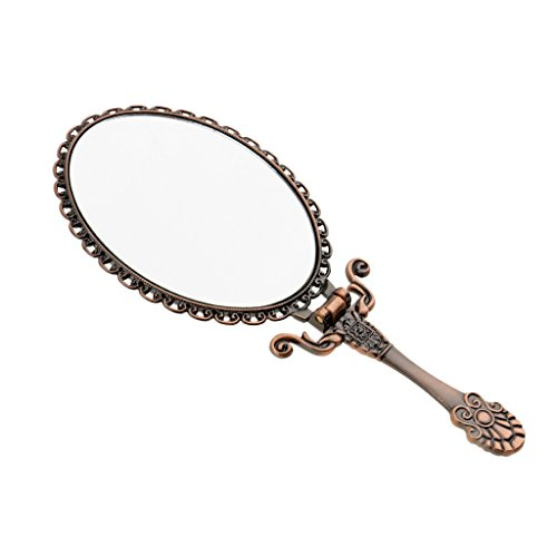 Homyl Antique Hand Mirror Foldable Tail Makeup Compact Hand/Table Mirror Decorative Mirror Bronze - Small by Homyl