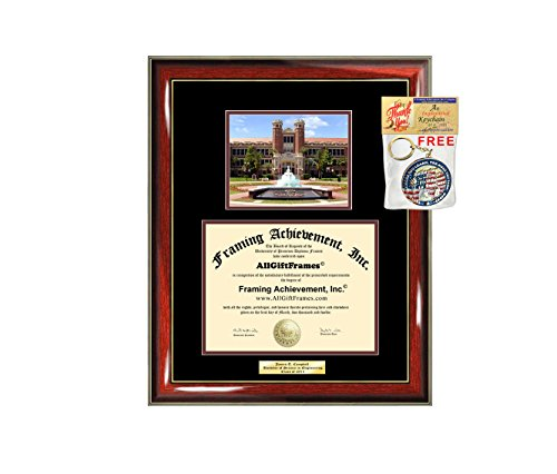 Diploma Frame FSU Florida State University Graduation Gift Idea Engraved Picture Frames Engraving Degree Large Personalized Graduate Bachelor Masters MBA PHD Doctorate (Florida University State Wood)