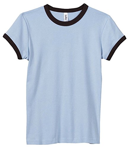 Bella 1007 Ladies' 1X1 Baby Rib Short-Sleeve Ringer T-Shirt - White/Fuchsia - (Wholesale Ringer T-shirts)