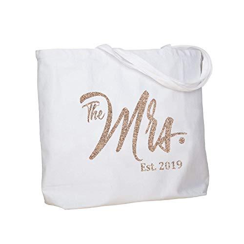 ElegantPark Future The Mrs. EST. 2019 Personalized Bride Tote Wedding Bachelorette Bridal Shower Gifts Large Shoulder Bag White with Champagne Glitter (Best Tote Bags 2019)