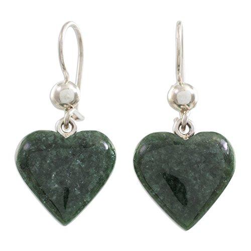 NOVICA Jade .925 Sterling Silver Heart Shaped Dangle Earrings, Love Immemorial'