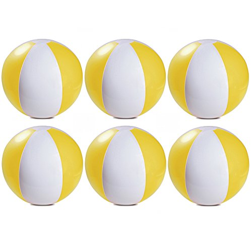 eBuyGB Pack of 6 Inflatable Colour Beach Ball Pool Game, Yellow, 22cm / 9