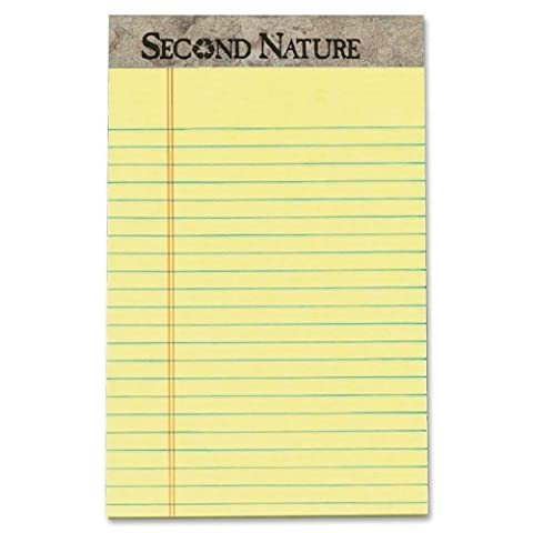 TOPS Second Nature 100% Recycled Legal Pad, 5 x 8 Inches, Perforated, Canary, Narrow Rule, 50 Sheets per Pad, 12 Pads per Pack - Recycled Paper Pads