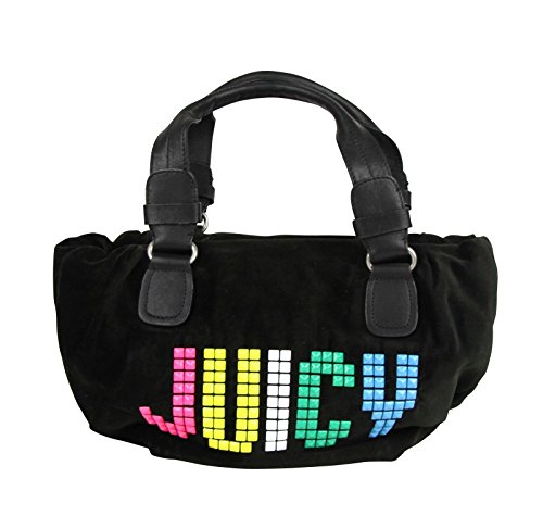 Juicy Couture Studded Black Velour Rainbow Etiquette Satchel Bag YHRU1875 013