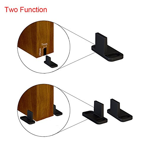 Hahaemall New Design Bottom Stay Wall Guide for Sliding Barn Door Hardware Accessory Black Floor Guide with Screws for Wood Door (2 Set) for sale