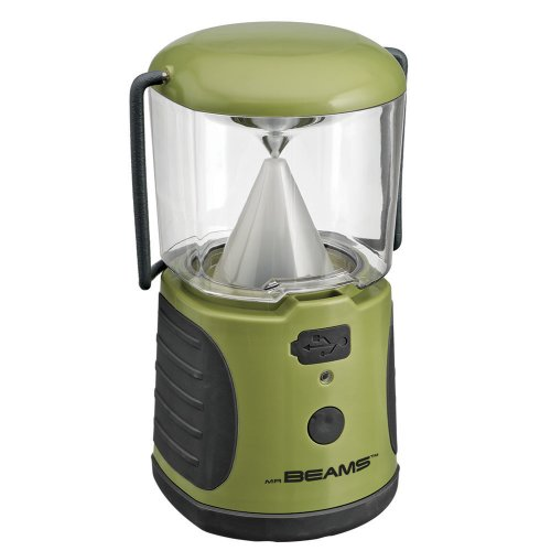 Mr. Beams MB470 UltraBright LED Camping Lantern with USB Charger for iPhone; Camping, Hiking, Hurricanes, Emergencies, Outages; Water resistant, Lightweight, Super bright, Removable top cover, Hook and handle – Green