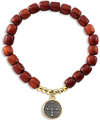 Catholica Shop Stretch Bracelet - Catholic Religious Wear Saint Benedict Elasticated Medal Bracelet with Cherry Red Wood Beads