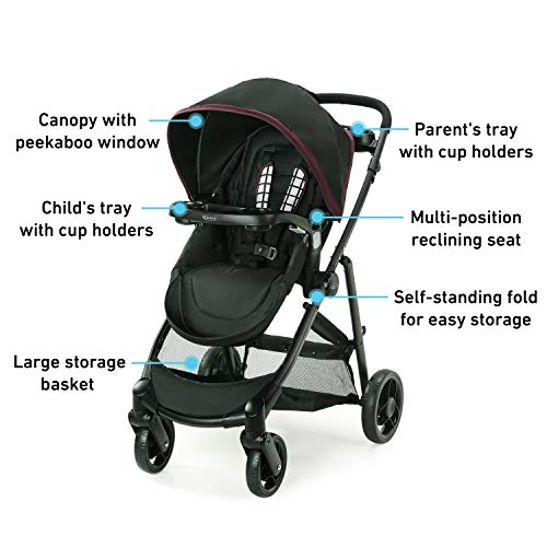Graco Modes Element Travel System, Includes Baby Stroller With Reversible Seat, Extra Storage, Child Tray And SnugRide 35 Lite LX Infant Car Seat, Ainsley