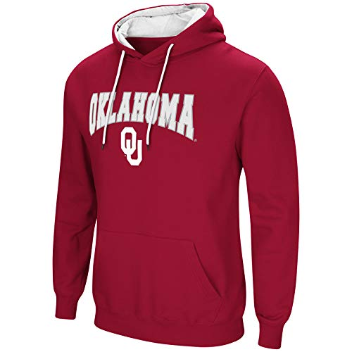 - Colosseum NCAA Men's-Cold Streak-Hoody Pullover Sweatshirt with Tackle Twill-Oklahoma Sooners-Crimson-XL