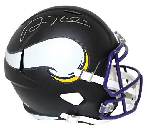 (Adam Thielen Autographed Minnesota Vikings Black Matte Replica Helmet BAS)
