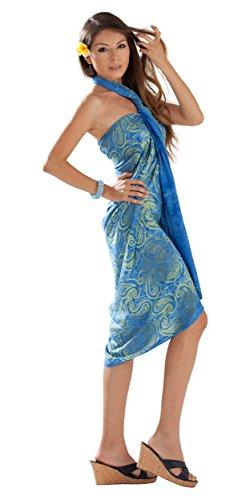 1 mundo pareos traje de baño para mujer de las gafas diseño de cachemira de Cover-Up elección wasserpfeifenversand in your una explosión de color Light Blue/Lime
