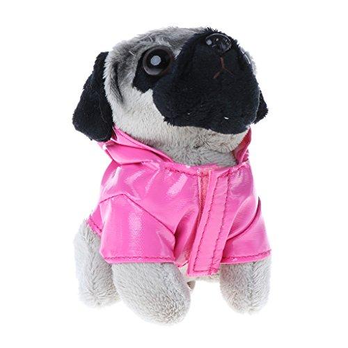 SEAyaho Funny Stuffed Dog with Raincoat, Pugger Bag Pendant Keychain Kid Toy Gift #1 8x7x12cm
