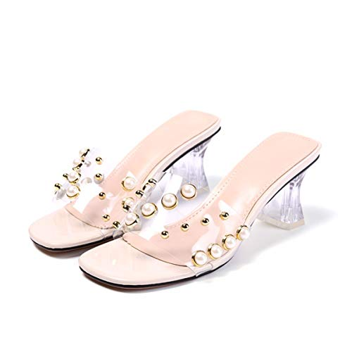 Transparent Pearls Film Black Straps Rivets Heels Thick Sandals Crystals Slippers Outwear KPHY Summer ZqfXZw