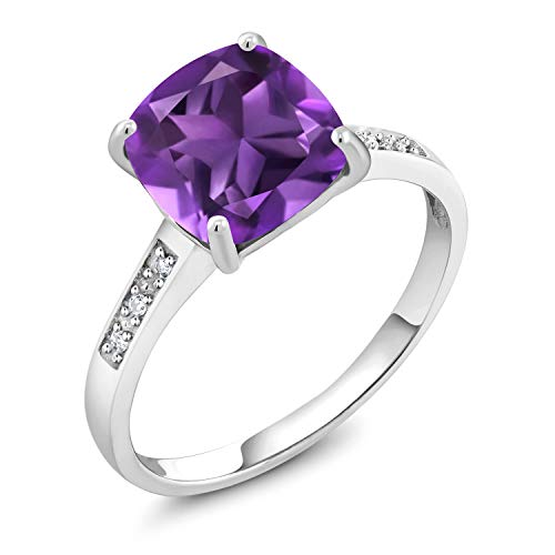 Gem Stone King 10K White Gold Purple Amethyst and Diamond Women's Engagement Ring 2.05 Cttw Gemstone Birthstone, 8MM Cushion Cut Center (Size 5)