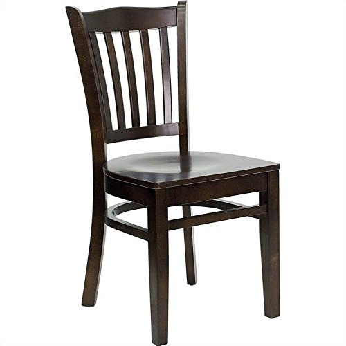 Flash Furniture HERCULES Series Vertical Slat Back Walnut Wood Restaurant Chair