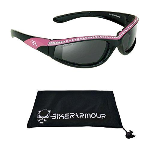 Rhinestone Pink Frame Motorcycle Sunglasses Foam Padded for Women.