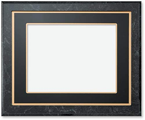 Slide-in Wood Plaque with Laminated Charcoal Marble Finish, Gold-Edged Black Mat, 14