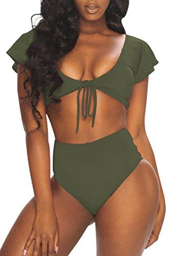 Viottiset Women's Retro Vintage High Waist Bikini Set Swimming Suit L Army Green