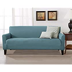 Home Fashion Designs Form Fit, Slip Resistant, Stylish Furniture Cover/Protector Featuring Lightweight Stretch Twill Fabric. Brenna Collection Strapless Slipcover (Sofa, Smoke Blue - Solid)