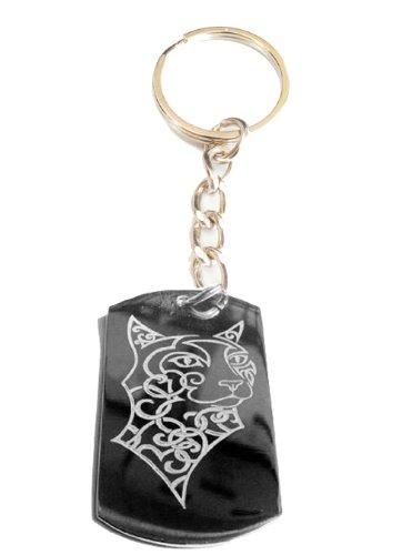 Celtic Cougar Feline Sexy Cat Animal Head Logo Symbol - Metal Ring Key Chain Keychain