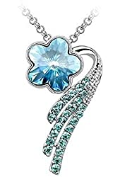 Romantic Blue Crystal Flower Necklace Pendant Fashion Jewelry