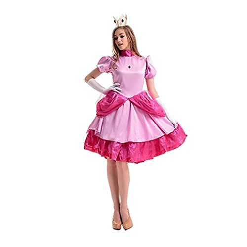 Marioy Peachs Princess Pink Dresses Cosplay Costumes for Womens ()
