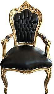 Casa-Padrino Barroco Cena Presidente Negro/Cuero de la Mirada del Oro con apoyabrazos