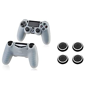 Insten [2 Pair / 4 Pcs] Silicone Analog Thumb Grip Stick Cover (Black/White) + Pythons Soft Silicone Skin Case Compatible With Playstation4 PS4 Controller (Clear White)