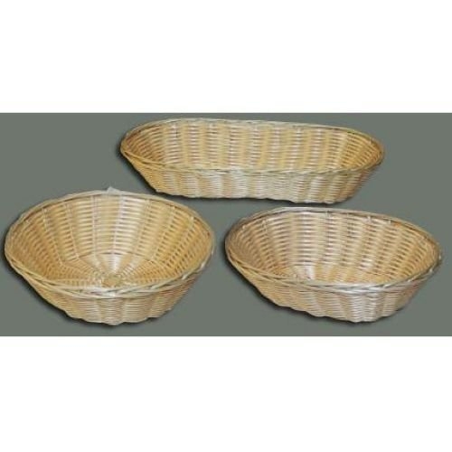 Natural Oval Cracker Poly Woven Basket, 9.5 Inch x 6.25 Inch x 3 Inch