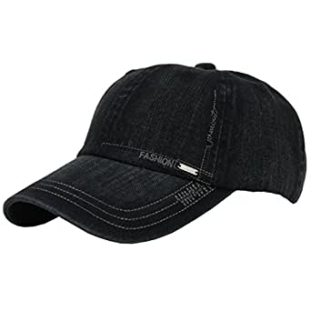 JAMONT Unisex Cotton Adjustable Plain Hat Baseball Cap Multi Colors (11330 black)