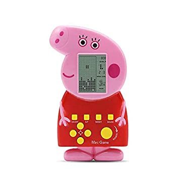 ACHICOO Cute Cartoon Shape MI/NI RETR/o Tetris Game Console for Kids Toy [Red Pig]