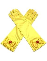 Girls Long Satin Princess Dress Up Diamonds Bows Gloves...