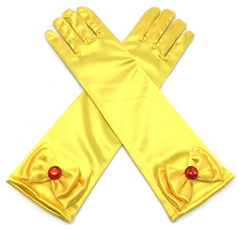 Yellow Dress Up Costumes (Alead Girls Long Satin Gold Yellow Belle Dress Up Gloves With Red Diamonds for Kids)