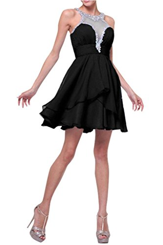 Wassermelon Kurzes Ballkleider La Partykleider Cocktailkleider Abendkleider mia Jugendweihe Kleider Chiffon Braut Mini Schwarz wIpEpqA