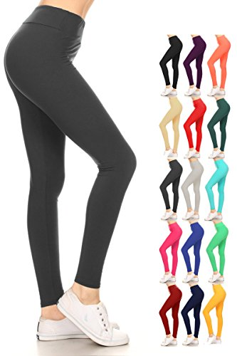 Solid Color Leggings - Leggings Depot Yoga Solid Pants Charcoal (LYR128-CHARCOAL)