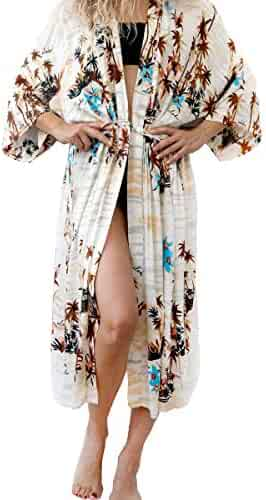 dd5e6d4813fe2 Barlver Womens Chiffon Kimono Cardigan Swimsuit Open Front Long Cover Up  Shawl Half Sleeve Bikini Beachwear