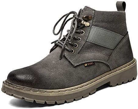 男性の足首の靴のためのバイク用半長靴はレースアップPUレザー磨かスタイル織り靴ひもExperient社は、通気性が裏地縫製しました YueB HAL (Color : グレー, サイズ : 25 CM)