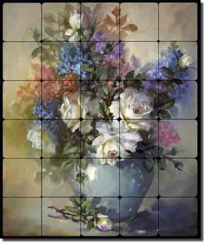 White Roses In Blue Vase By Fernie Parker Taite Floral Flowers Tumbled Marble Tile Mural 24 X 20 Kitchen Shower Backsplash Ceramic Tiles Amazon Com